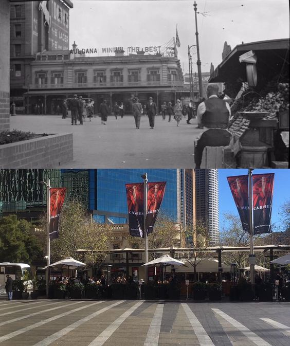 The courtyard in front of Customs House, Circular Quay 1920's > 2016. [State Library of NSW > Phil Harvey. By Phil Harvey]