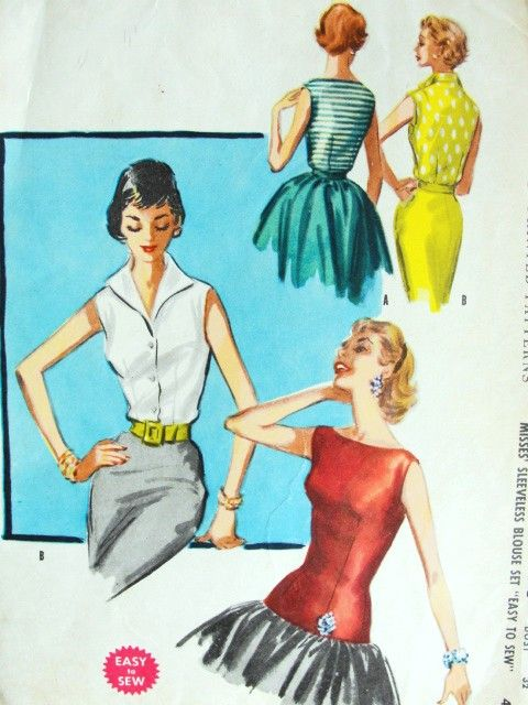 1950s Glamorous Day Or Evening Style Blouse Pattern Mccalls 3480 Two Beautiful Blouses V Neck Wing Vintage Blouse Pattern Vintage Fashion Vintage Style Dresses