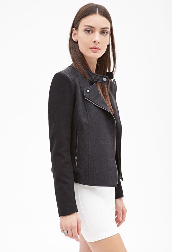 Wool-Blend & Faux Leather Jacket - Shop All - 2000060503 - Forever ...