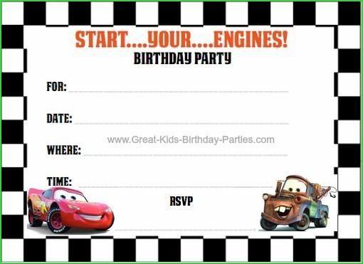 Disney Cars Birthday Card Template Elegant Disney Cars Birthday Card Templa Cars Birthday Party Disney Birthday Invitations Kids Printable Birthday Invitations