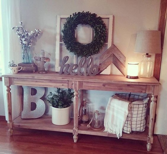 Farmhouse Foyer Table Decor : Foyer table rustic farmhouse decor home interior