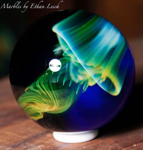 UV JELLYFISH HANDMADE MARBLE SIGNED BY ~ETHAN LESCH~ BOROSILICATE BORO ART MIB #Glass