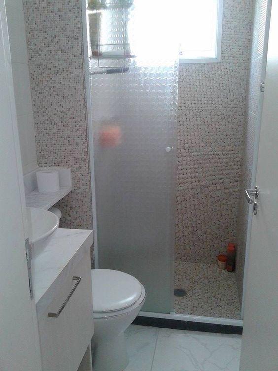 azulejo que imita pastilhas  BAÑOS  Pinterest -> Banheiro Com Azulejo Que Imita Pastilha