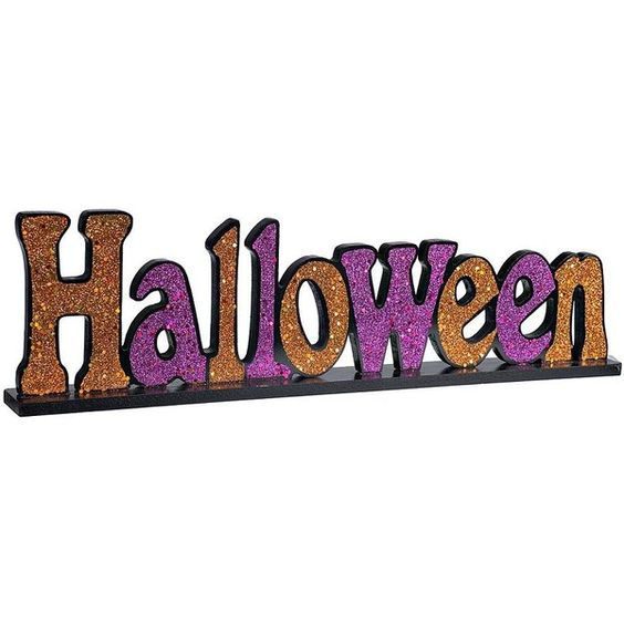 Halloween Glitter Tabletop Sign (£3.65) ❤ liked on Polyvore featuring home, home decor, holiday decorations, halloween, wooden home decor, table top signs, text signs, wooden signs and halloween home decor