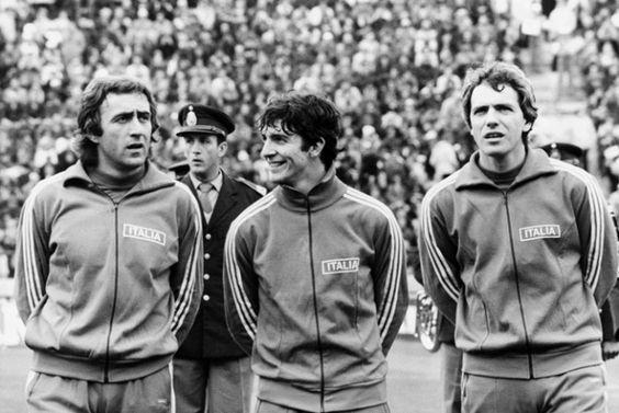 1978: Mondiali di calcio in Argentina. Mauro Bellugi, Paolo Rossi e Roberto Bettega.