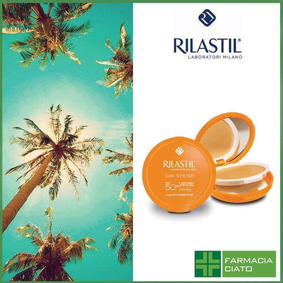 Rilastil Sun System Correttore Del Colore SPF 50+: fondotinta compatto, dall'elevato potere coprente, cremoso e facilmente spalmabile. #farmaciaciato #padova #farmacia #rilastil #sole #estate #protezione #prodotti