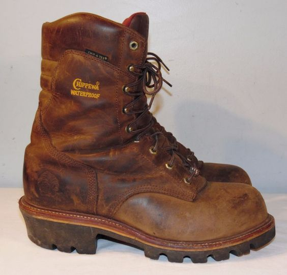 CHIPPEWA Brown Leather Steel Toe Logger Work Boots Men&39s 13 E Made