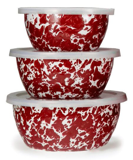 Golden Rabbit Red Swirl Nesting Bowl Set | zulily