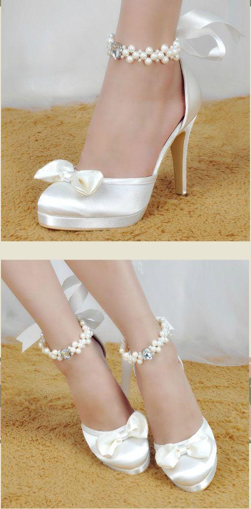 EP11074-PF Ivory Close Toe Pearl Bow Ribbon High Heel Satin Bridal shoes UK 2-9