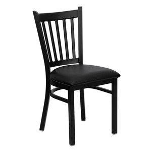 Flash Furniture Hercules Series Black Vertical Back Metal Restaurant Chair with Black Vinyl Seat XU-DG-6Q2B-VRT-BLKV-GG