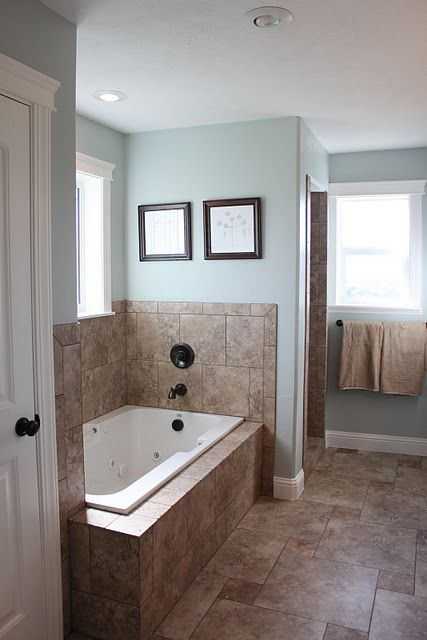 Loving this paint color...Luna Light from Columbia.  Bonus -- check out the home decor.