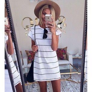 Holiday Stripe Tee Dress   SABO SKIRT