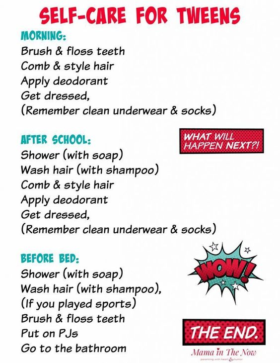 Self-care daily routine schedule for tweens. Gentle reminder for your tween to establish a good daily routine. Parenting tweens. #SkinCareRoutine