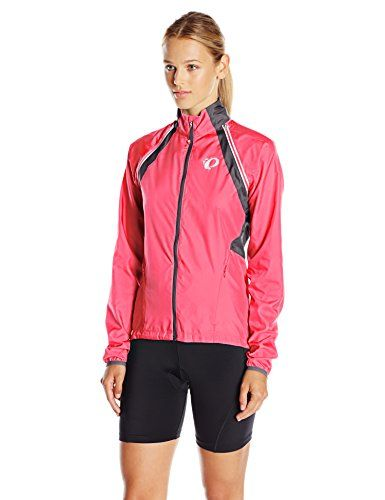 Pearl iZUMi Women's W Elite Barrier Convert Jacket, Screaming Pink/Smoked Pearl, X-Large. Spring/summer 2017. ELITE Barrier fabric provides superior wind protection and water resistance. Full-length internal draft flap with zipper garage seals in warmth. One hand pull elastic draw cord at waist with welded, reinforced exit point. One back pocket and two hand pockets for easy access. One-piece integrated sleeve construction for ease of use and storage. Fabric: 100% Polyester BioViz…