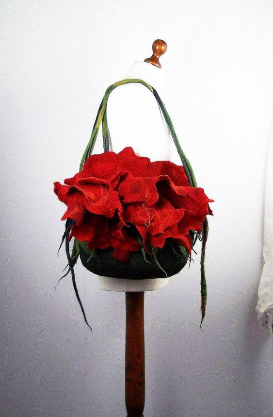 Felted Bag Flower Bag Nunofelt Bag Wearable art flower Handbag Purse wild Felt Nunofelt Nuno felt Silk red fairy floral fantasy shoulder bag Fiber Art