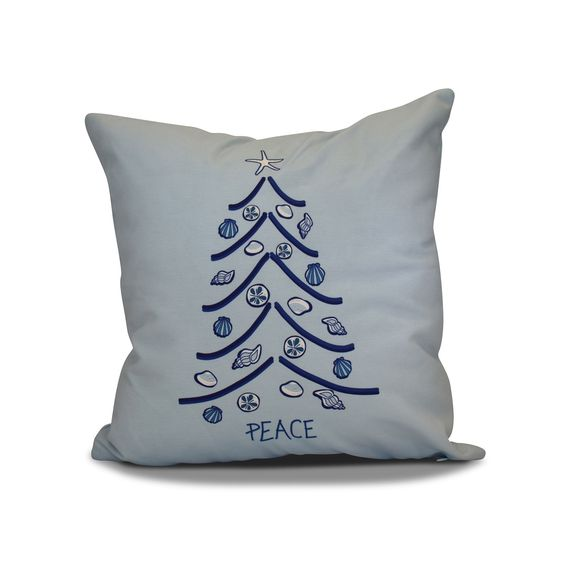 E by Design 18 x 18-inch, Sand Tree, Holiday Geometric Print Pillow