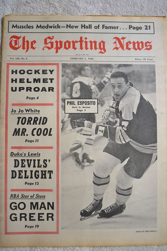 February 3, 1968 Sporting News #05 Phil Esposito Boston Bruins Joe Medwick HOF