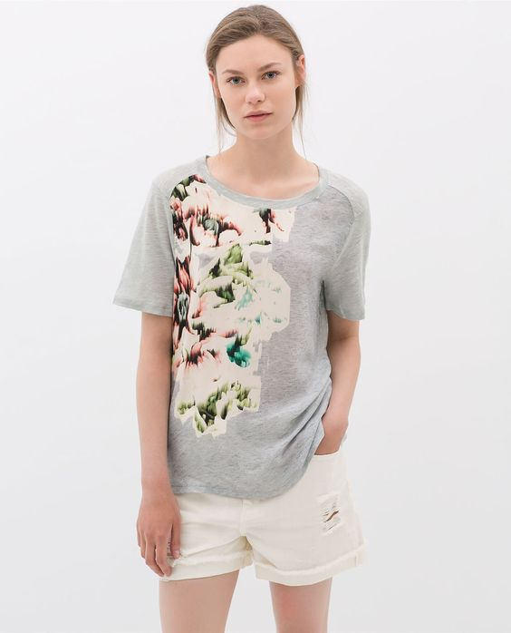 ZARA - COLLECTION AW14 - COMBINED LINEN T-SHIRT