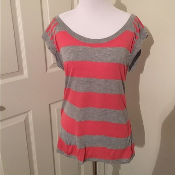 Coral and gray striped cap sleeve tee Very light tee that's perfect for spring or summer. Only worn a few times. No rips, tears, snags, or stains. Old Navy Tops Tees - Short Sleeve