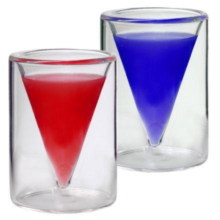 2x 30ml doppelwandige Shotgläser / Schnapsgläser im Spitzglasdesign mit Schwebe-Effekt - Feelino