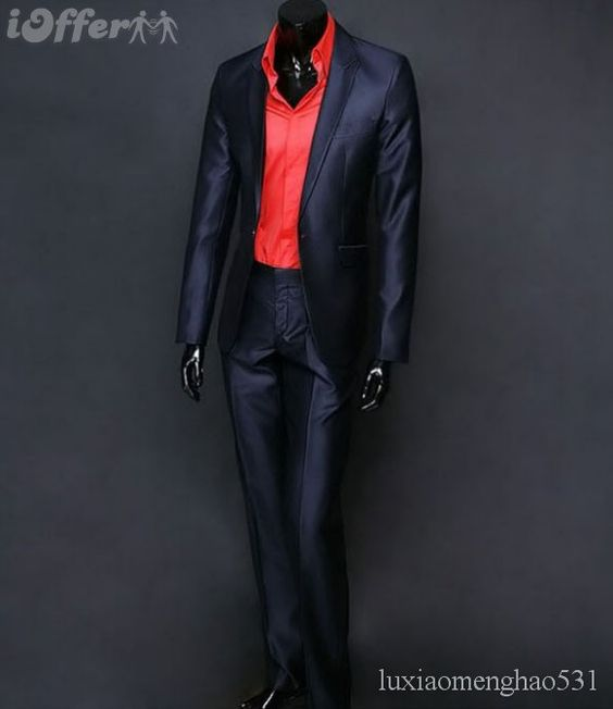 Mens Black Suit With Red Shirt Dress Yy