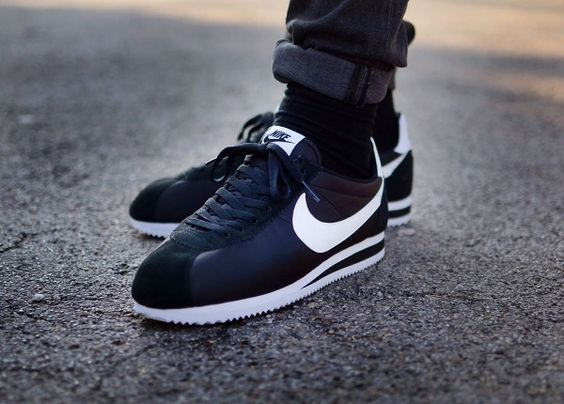 black and white cortez shoes