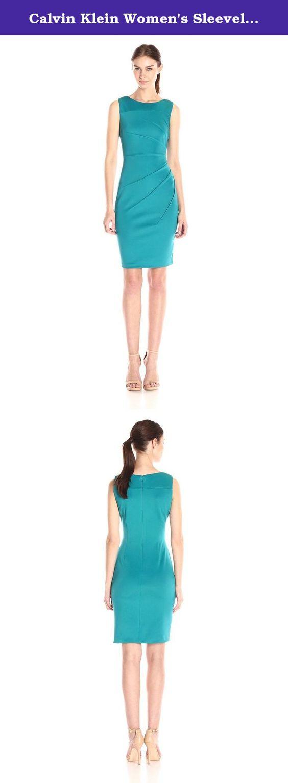 Calvin Klein Women's Sleeveless Scuba Starburst Sheath Dress, Lagoon, 12. Round neck sleeveless star bust sheath dress.
