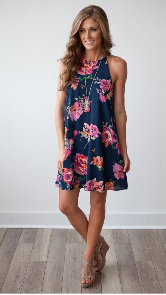 Blue Dress with Floral Prints via