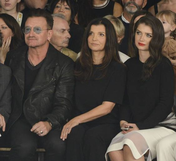 NSinger Bono, Ali Hewson and Eve Hewson attend the Edun fashion show during Mercedes-Benz Fashion Week Spring 2015