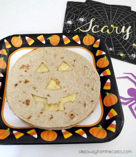Low Carb Halloween Cheese Quesadillas - a fun jack o-lantern recipe for everyone to enjoy- low carb/low carb  snacks/keto treats/ keto halloween/keto treats for halloween/low carb dessert/ keto snacks/keto dessert for halloween/keto recipes for halloween/Easy keto recipes/keto chocolate/halloween food/creepy halloween food/spooky treats/halloween party food/halloween party ideas/