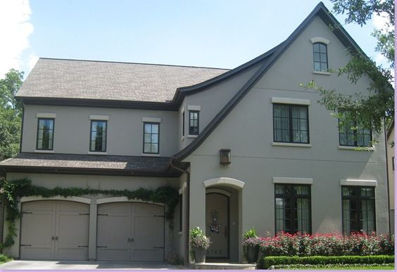 Taupe gray exterior dark window trim with creamy accents exterior pinterest taupe gray for Accent colors for gray exterior
