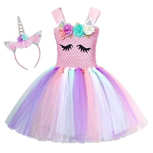 Girls Rainbow Unicorn Dress Birthday Cosplay Party