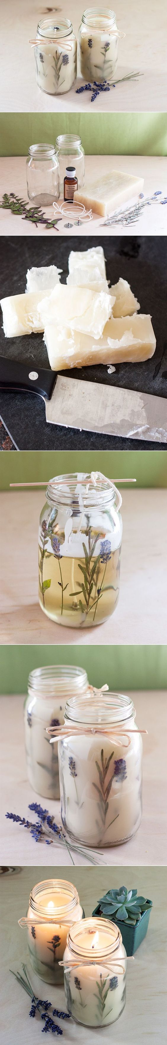 DIY - HERB CANDLE ( CLICK THROUGH FOR TUTORIAL ) >> YOU WILL NEED : GLASS JAR , A BLOCK OF BEESWAX (I USED A 1/2 BLOCKS TO MAKE TWO CANDELS) , WICK , PRESSED FLOWERS OR HERBS (100% DRY) , CLEAN EMPTY TIN CAN AND A SAUCEPAN , A OLD PAINTBRUSH (YOU CAN THROW AWAY AFTERWARDS) , AN OLD KNIFE , CUTTING BOARD