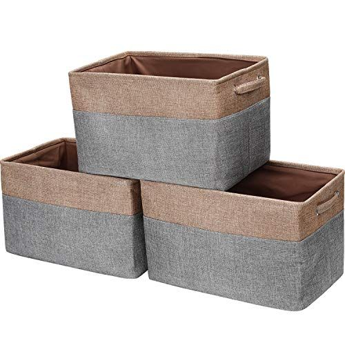 Hokemp Foldable Storage Bins 15 X 10 6 X 10 Fabric Storage Large Basket Set Collapsible Organize In 2020 Baskets For Shelves Collapsible Storage Bins Cube Storage