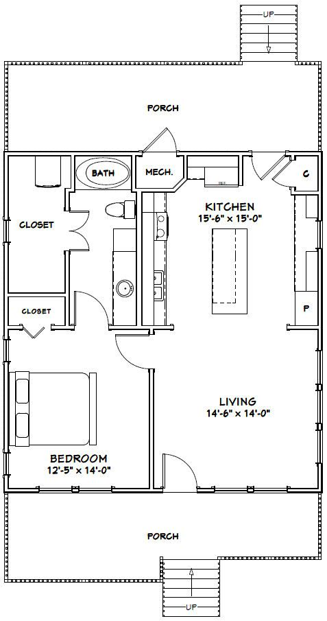 28x30 House 28x30h1 840 Sq Ft Excellent Floor Plans Guest House Plans Tiny House Floor Plans One Bedroom House