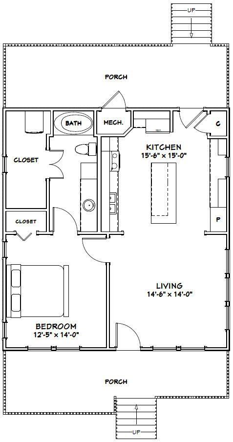 28x30 House 28x30h1 840 Sq Ft Excellent Floor Plans Guest House Plans Tiny House Floor Plans Small House Floor Plans