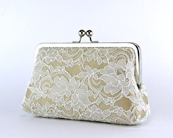Bridesmaid Clutch Lace Silk Clutch in Ivory and by EllenVintage, $70.00