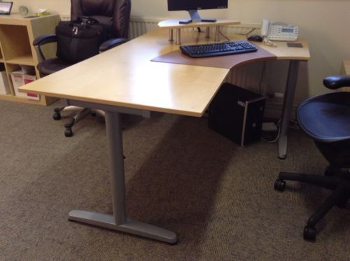 ikea bekant birch corner desk adjustable height with accessories in vgc view accessories furniture handmade ikea corner desks