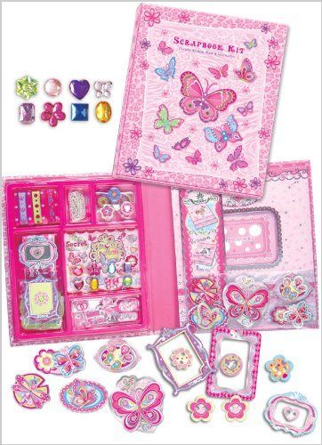 Girls Butterfly Make your Own SCRAPBOOKING Set or Kit - 120 Pieces of Embellishments - TOP GIFT SELLER!