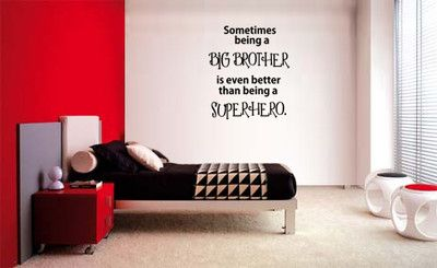 SOMETIMES BEING A BIG BROTHER SUPERHERO LETTERING DECAL WALL VINYL  QUOTE WORDS