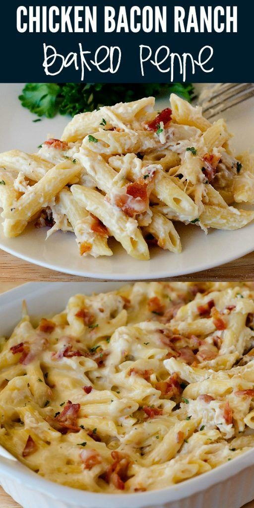 Chicken Bacon Ranch Baked Penne is filled with all things comforting. Penne pasta, creamy Alfredo, l