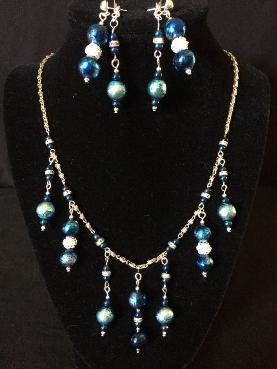 blue crackle balls with sparkle accents by ScottishDryad on Etsy, $46.00