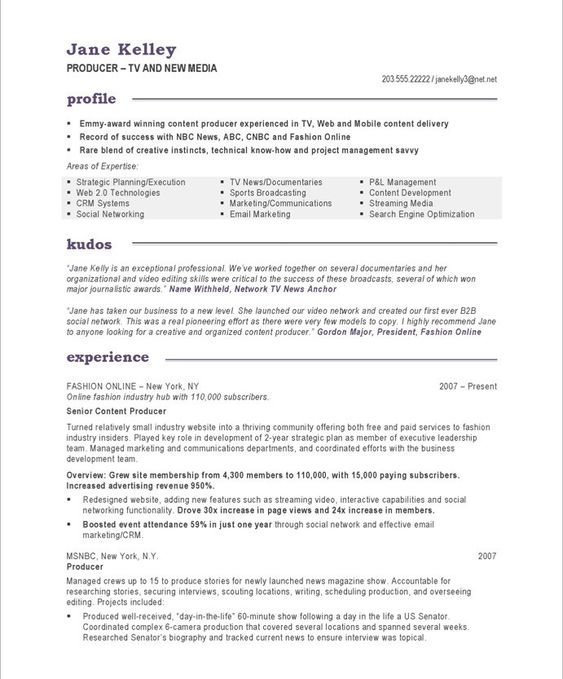 Tv/New Media Producer-Page1 | New Media Resume Samples | Pinterest