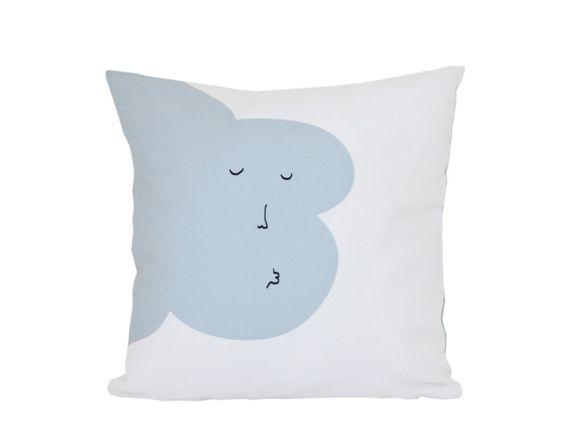 Kisses Good Night Throw Pillow blue Cloud