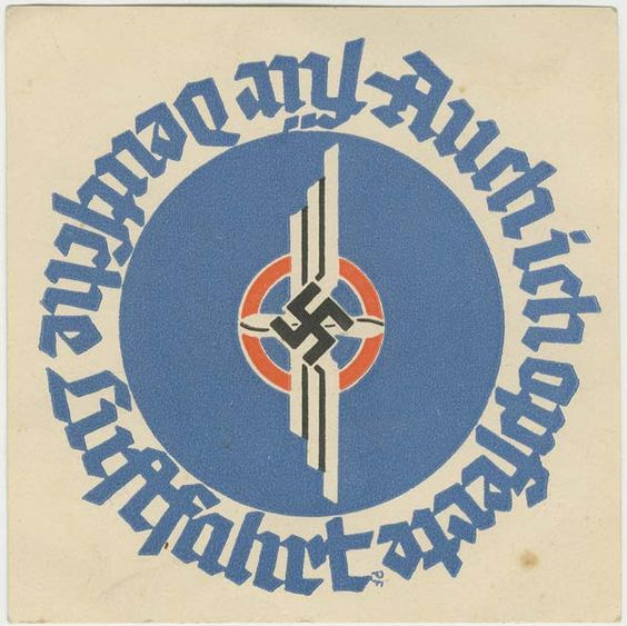 """NSFK """"I also donated for Deutsche Luftfahrt"""" donation favor/label on card stock for Air week 1935"""