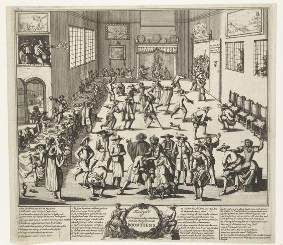 Anonymous   Spotprent op een Menniste Bruiloft, ca. 1700, Anonymous, 1690 - 1710   Spotprent op een Menniste Bruiloft. Grote kamer waarin alle bezoekers van een bruiloftsmaal getroffen worden door acute diarree, met alle gevolgen van dien. Linksvoor aan de tafel (nr. 1) de boosdoener die de purgeerboontjes in het eten heeft gedaan. Op de voorgrond tilt een dame haar rokken hoog op. In het onderschrift de legenda 1-27, waarin melding wordt gemaakt van Menno Simons, Jan van Leiden en Bernard…