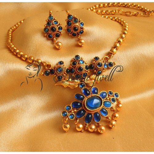 Buy Kundan Choker Necklace Priya Nacc10438c: Online Shopping For GORGEOUS ROYAL BLUE ANTIQUE NECKLAC