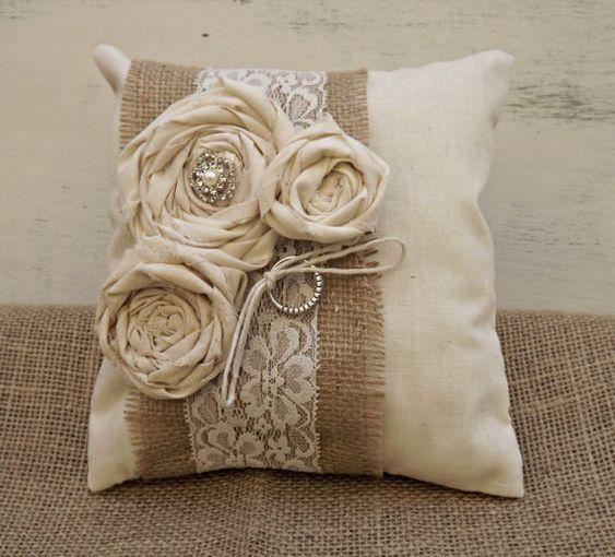 Rustic, Shabby Chic Wedding Ring Bearer Pillow -Shabby Chic Burlap and Lace Pillow - Shabby Chic Flowers on Etsy, $28.00: