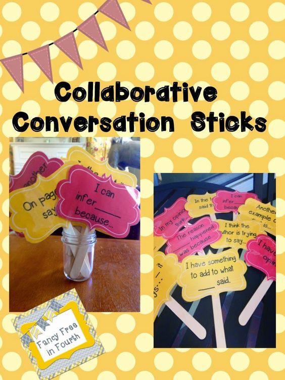 Student Collaborative Conversations ~ Collaborative conversation sticks to guide conversations