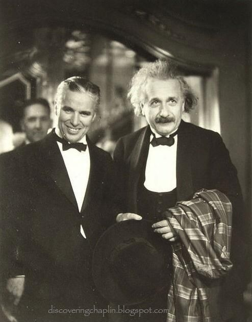 Charlie Chaplin with Albert Einstein at the premiere of his movie City Lights, c.1931